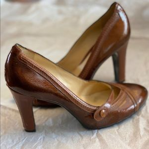 Cole Haan Chunky Heels in Whiskey Brown
